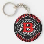 wicked red zebra initial letter B Key Chain