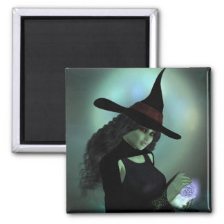 Wicked Witch Casting a Spell Square Magnet