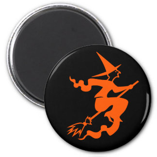 Wicked Witch on a Broom Fun Halloween Party Favor 6 Cm Round Magnet