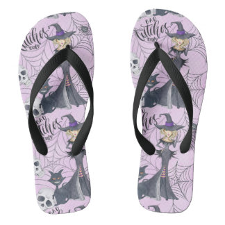 Wicked witch skull and black cat purple Halloween Thongs