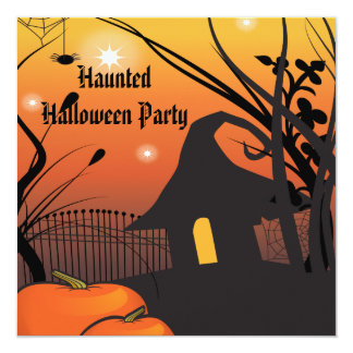 "Wicked Witches Hut Halloween 5.25"" Square Invitation Card"