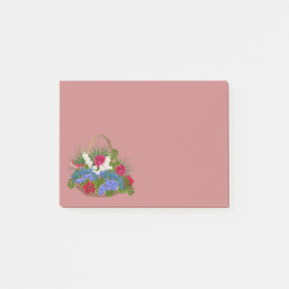 Wicker Basket & Flowers Rose Colored Post-It Notes