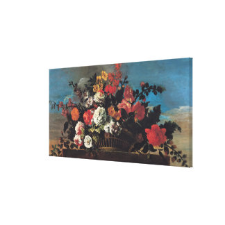 Wicker Basket of Flowers Stretched Canvas Prints