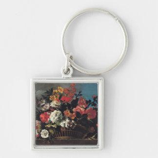 Wicker Basket of Flowers Key Chains
