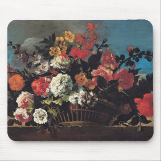 Wicker Basket of Flowers Mouse Pad