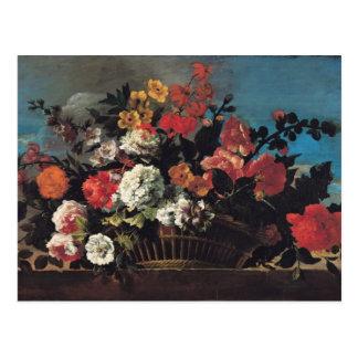 Wicker Basket of Flowers Postcard