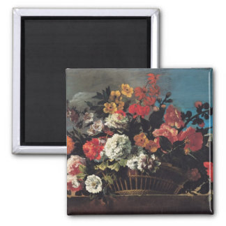 Wicker Basket of Flowers Square Magnet