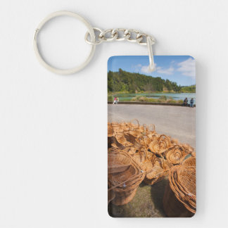 Wicker baskets for sale Double-Sided rectangular acrylic key ring