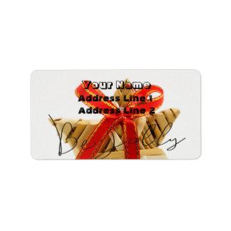Wicker Christmas Ornament Address Label
