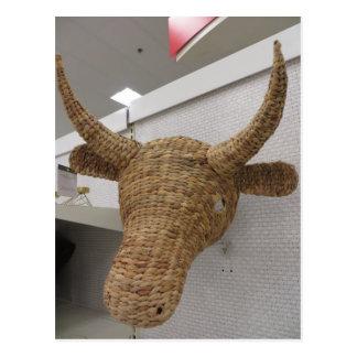 Wicker Cow Postcard