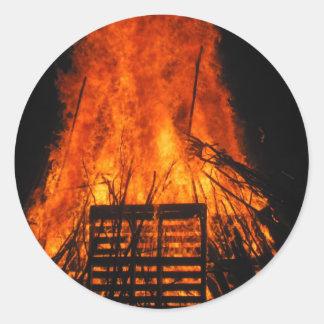Wicker fire round sticker