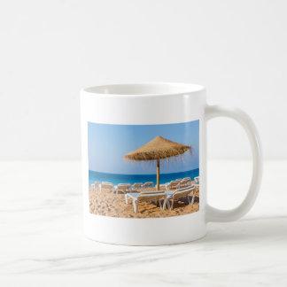 Wicker parasol with beach beds.JPG Coffee Mug