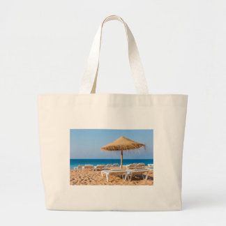 Wicker parasol with beach beds.JPG Large Tote Bag