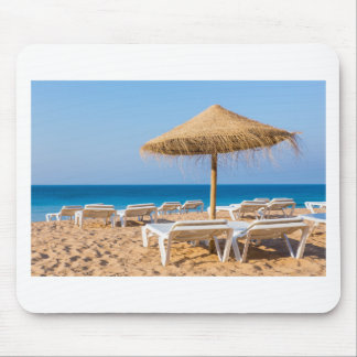 Wicker parasol with beach beds.JPG Mouse Pad