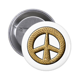 Wicker Peace Sign Pinback Buttons
