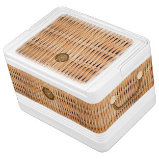 Wicker Picnic Basket Look Igloo Can Cooler Igloo Ice Chest