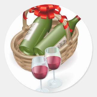 Wicker wine basket stickers