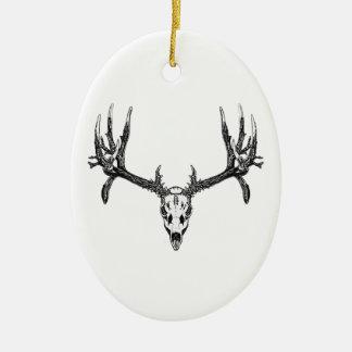 Wide buck skull ceramic ornament