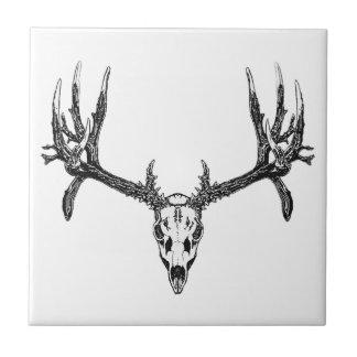 Wide buck skull ceramic tile