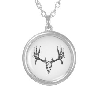 Wide buck skull silver plated necklace