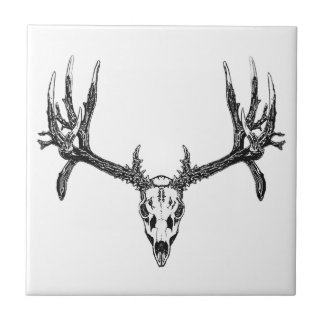 Wide buck skull small square tile