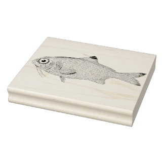 Wide-Eyed Fish Vintage Rubber Art Stamp