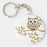 Wide Eyes Owl in Tree Key Chain