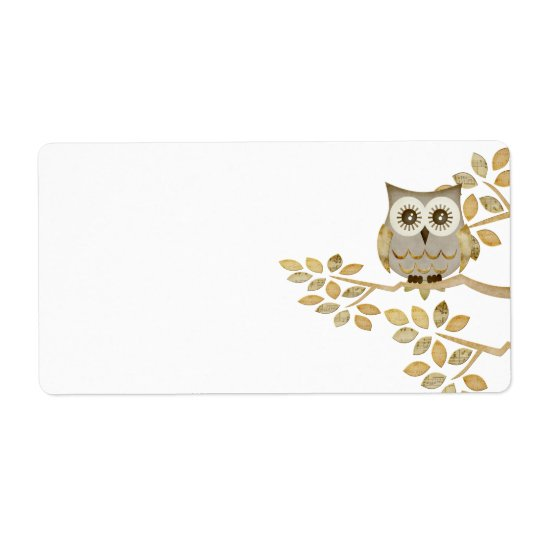 Wide Eyes Owl in Tree Label Shipping Label