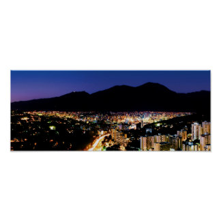 wide panoramic night view of Caracas City Poster