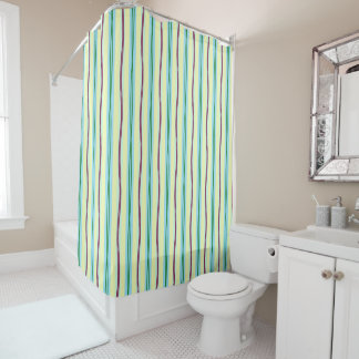 Wide pastel vertical stripes with bold wavy accent shower curtain