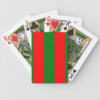 Wide Red and Green Christmas Cabana Stripes Bicycle Playing Cards