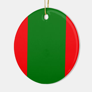 Wide Red and Green Christmas Cabana Stripes Ceramic Ornament