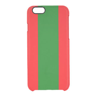 Wide Red and Green Christmas Cabana Stripes Clear iPhone 6/6S Case
