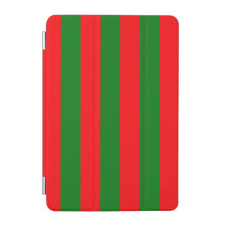 Wide Red and Green Christmas Cabana Stripes iPad Mini Cover