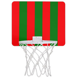 Wide Red and Green Christmas Cabana Stripes Mini Basketball Hoop
