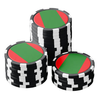 Wide Red and Green Christmas Cabana Stripes Poker Chips