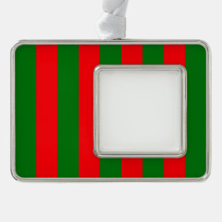 Wide Red and Green Christmas Cabana Stripes Silver Plated Framed Ornament