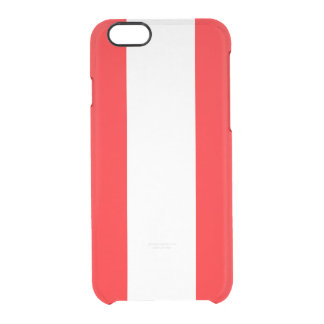 Wide Red and White Christmas Cabana Stripes Clear iPhone 6/6S Case