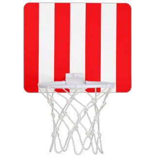 Wide Red and White Christmas Cabana Stripes Mini Basketball Hoop