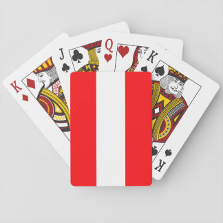 Wide Red and White Christmas Cabana Stripes Playing Cards