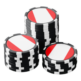 Wide Red and White Christmas Cabana Stripes Poker Chips