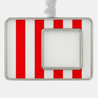 Wide Red and White Christmas Cabana Stripes Silver Plated Framed Ornament
