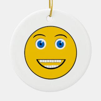 Wide Smiling Emoji Round Ornament