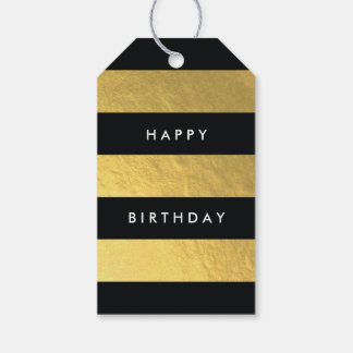 Wide Stripe Black and Gold Faux Foil Gift Tag