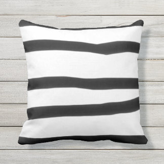 Wide Stripe Black White Hand Drawn Crooked Funky Outdoor Cushion