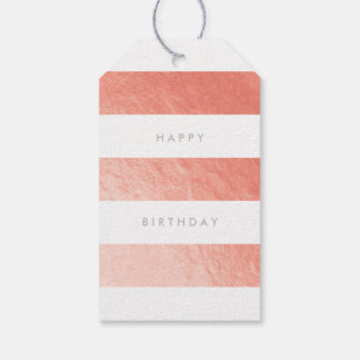 Wide Stripe Faux Rose Gold Foil Gift Tag