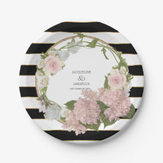 Wide Striped Hydrangea Floral Wreath Hand Painted Paper Plate