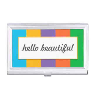 "Wide Striped with ""hello beautiful"" Business Card Holder"
