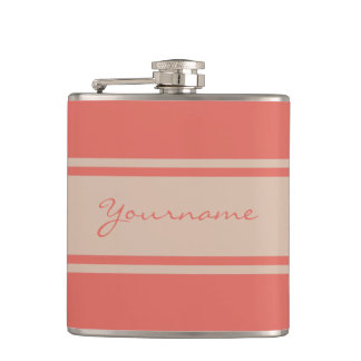 Wide Stripes custom monogram flask
