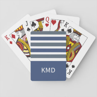 Wide Stripes custom monogram playing cards